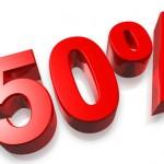 50% fifty percent